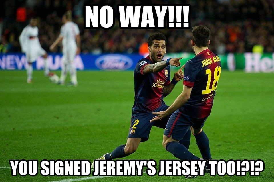 Alves and Alba Celebrate Signing Jeremy's Jersey :)